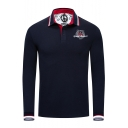 Fashion Contrast Tipped Long Sleeve Classic-Fit Logo Polo Shirt for Men