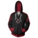 Kingdom Hearts Printed Colorblocked Cosplay Costume Long Sleeve Zip Up Hoodie in Black