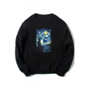 Fashion Printed Crewneck Long Sleeve Casual Relaxed Pullover Sweatshirt