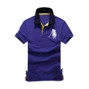 Men Contrast Collar Short Sleeve Simple Logo Chest Classic-Fit Sport Polo Shirt
