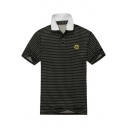 Men's Summer Comfort Mercerized Cotton Fashion Allover Pattern Black Polo Shirt