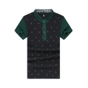 Fashion Allover Pineapple Print Stand Collar Colorblocked Men's Cotton Black Polo