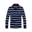 Men Fashion Striped Print Turn-Down Collar Casual Loose Long Sleeve Polo