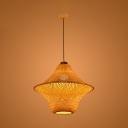 Asian Style Rattan Indoor Lighting Fixture Weave 1 Head Hanging Lamp in Wood for Hotel Hall