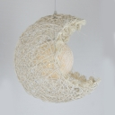 Modernism Moon Lamp Light with Ball Shade Weave Single Head Pendant Lighting for Children Room