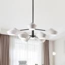 2 Tiers Linear Suspended Light Modern Design Metal 8 Heads Chandelier Lamp in Black