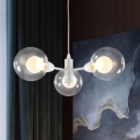 White Global Chandelier Light Modernism Height Adjustable 3 Lights Suspended Light with Clear Glass Shade
