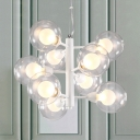 Contemporary Spherical Indoor Lighting Fixture 9 Heads Chandelier Lamp in White with Glass Shade