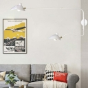 White Swing Arm Wall Mount Light with Duckbill Shade Modernism Metallic 2 Lights Sconce Light