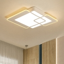 Contemporary Geometric Square Ceiling Light Acrylic LED Flush Mount in Warm/White for Study Room