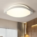 Acrylic Leaf Shape LED Flush Light Fixture Minimalist Surface Mount Ceiling Light in White for Corridor