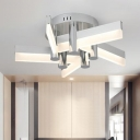 Windmill Semi Flushmount Modern Nordic Style Acrylic 5 Lights LED Ceiling Light in Neutral