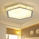 Crystal Hexagon Flush Light Fixture Modernism LED Ceiling Fixture in Warm/White for Sitting Room