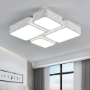 White Oblong LED Ceiling Lamp with Acrylic Shade Minimalist Nordic Decorative Indoor Lighting Fixture