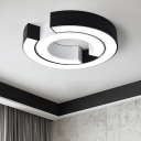 C Shape Lighting Fixture Modernism Concise Metal Surface Mount LED Light in Black for Corridor