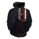 Star Wars Yoda 3D Printed Loose Fit Long Sleeve Black Drawstring Hoodie
