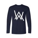Norwegian DJ Simple Double W Logo Printed Basic Crewneck Long Sleeve Men's Loose Fit Cotton T-Shirt