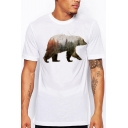 New Fashion Bear Pattern Crewneck Short Sleeve Loose Fit White T-Shirt