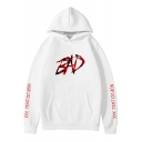 Popular American Rapper Letter BAD Print White Unisex Loose Leisure Hoodie