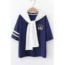 Girls Cute Tied Collar Cartoon Letter Chips Embroidered Relaxed T-Shirt