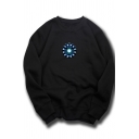 Reactor Print Crewneck Long Sleeve Cotton Loose Pullover Sweatshirt