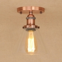 Tapered Indoor Lighting with Clear Glass Shade Industrial 1 Light Semi Flush Mount Light for Coffee Shop