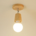 Rotatable Open Bulb Ceiling Light Minimalist Wooden Single Light Semi Flush Mount for Coffee Shop