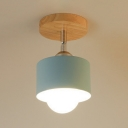 1 Light Mini Semi Flushmount with Blue/Gray/White Cylinder Shade Modern Chic Metallic Ceiling Fixture