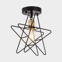 1 Light Five-pointed Star Ceiling Lamp Industrial Modern Metallic Semi Flush Mount in Gold Finish for Kids