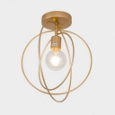 Hoops Ceiling Fixture Contemporary Metal Single Light Art Deco Semi Flush Mount Lighting in Black/Gold