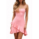 Women's Stylish Ruffled Hem Solid Color Mini A-Line Pink Slip Dress