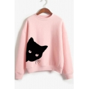 Cartoon Cat Print Side Mock Neck Long Sleeve Loose Casual Sweatshirt