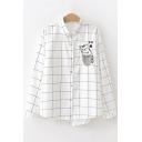 Sleeping Cat Pocket Plaid Long Sleeve Lapel Collar Button Down White Shirt