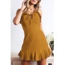 Chic Ruffled Hem Strap Bow-Tied Front Simple Plain Mini A-Line Cami Dress