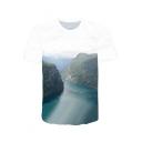 New Fashion 3D Landscape Printed Basic Short Sleeve White T-Shirt
