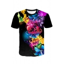 3D Black Floral Pattern Round Neck Short Sleeve T-Shirt