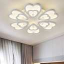 6-LED Petal Semi Flush Mount Light Modernism Metal Canopy LED Semi Flush Light in White Finish