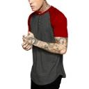 Fashion Colorblocked Raglan Sleeve Round Neck Men's Summer Henley Shirt