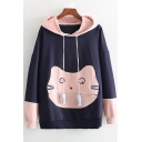 Zip Closure Cartoon Cat Patched Pocket Colorblocked Long Sleeve Casual Hoodie for Juniors