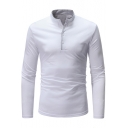 Men's Casual Loose Long Sleeve Stand-Collar Contrast Piping Plain Henley Shirt