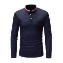 Fashion Rib Trim Stand-Collar Single Pocket Patched Chest Long Sleeve Henley T-Shirt for Men