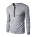 Fashion Button-Embellished Patchwork Round Neck Long Sleeve Casual T-Shirt for Men