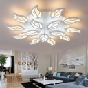 Tiered LED Ceiling Light with Leaf Design Modernism Acrylic Multi Light Indoor Lighting Fixture in White