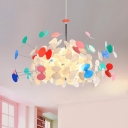 8 Bulbs Starburst Shape Suspended Light Post Modern Plastic Chandelier in Chrome for Kids