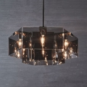 6/8 Lights Hexagon Lighting Fixture Modern Chic Chandelier Lamp with Smoke Acrylic Shade