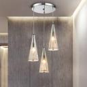 Cognac Glass Spire Hanging Lamp Contemporary Height Adjustable Triple Pendant Light for Corridor