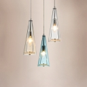 Multicolored Conical Pendant Lamp with Crystal Decoration Simplicity Glass Shade 3 Heads Drop Light