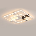 Square Ring LED Flushmount with X Shape Metal Canopy Post Modern LED Ceiling Light in Warm/White
