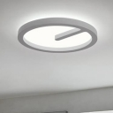 Simplicity Halo Ring LED Flushmount Metallic Lighting Fixture in White for Sitting Room