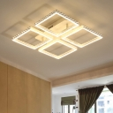 Eye Protection 4 Square LED Ceiling Fixture Contemporary Aluminum Semi Flush Light in Warm/White